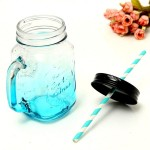 Стеклянная кружка-банка с ручкой, бирюзового цвета, обьем: 480 мл, MR000207
