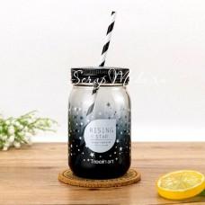 Стеклянная кружка-банка Mason Star, чёрное стекло, обьем: 580 мл, MR000210