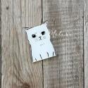 Значок акриловый Белый котик, размер 50 мм., Kawaii, MR000287