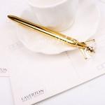 Ручка шариковая с Кристаллом, стержень чёрный, длина ручки 14 см., золотая. IN000522
