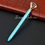 Ручка шариковая с Кристаллом, стержень чёрный, длина ручки 14 см., бирюзовая, MR000296
