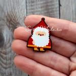 Значок Дед Мороз, металлическая застежка, размер 30х24 мм., MR000306