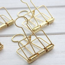 Канцелярский зажим декоративный, золотой,  56х32мм, MR000327