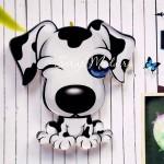 Значок акриловый Собачка бело-черная, размер 35 мм., Kawaii, MR000331