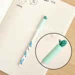 Ручка гелевая, Кактус зеленый с розовым цветочком, стержень черный 0,5мм., 16 см., MR000347