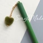 Ручка гелевая с сердечком, матовая, зеленая, стержень черный 0,5мм., 16 см., MR000352