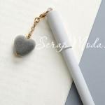 Ручка гелевая с сердечком, матовая, серая, стержень черный 0,5мм., 16 см., MR000353