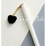 Ручка гелевая с сердечком, матовая, белая, сердечко черное, стержень черный 0,5мм., 16 см., MR000354