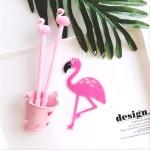 Ручка гелевая, Фламинго, розовая, стержень черный 0,5мм., 18 см., IN000664