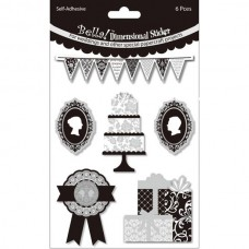 3D наклейки Bella! Wedding & Foil 3D Stickers, 6 шт., Fynmark, NA000317