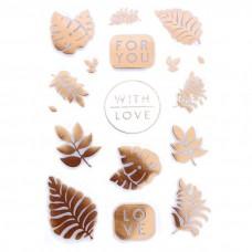 Наклейки пластиковые For you with love , золотое нанесение на прозрачном фоне, размер 11×19 см. АртУзор, NA000396