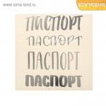 Наклейка‒переводка с фольгированием «Паспорт», Серебро, 10×10 см., Арт Узор. PR000002