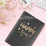 Наклейка‒переводка с фольгированием «Happy time», Золото, 10×10 см., с Арт Узор. PR000010