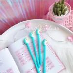 Ручка гелевая, Единорог, мятная, стержень черный 0,5мм., 18 см., RC000002