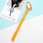 Ручка гелевая, Единорожка, жёлтая, стержень черный 0,5мм., 18 см., RC000006