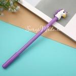 Ручка гелевая, Единорог, фиолетовая, стержень черный 0,5мм., 18 см., RC000007