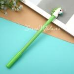 Ручка гелевая, Единорог, салатовая, стержень черный 0,5мм., 18 см., RC000008