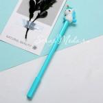Ручка гелевая, Единорожка, мятная, стержень черный 0,5мм., 18 см., RC000010