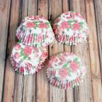 Бумажные гофрированные формы для выпечки Розочки на белом фоне, 12 шт., Dolce Arti, RP000045