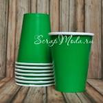 Бумажные стаканчики зеленые однотонные, 250мл., 6 шт., RP000063