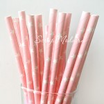 Бумажные трубочки Star на розовом фоне, размер 19,5х0,55 см., 6 шт., RP000077