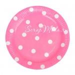 Бумажные тарелочки Polka Dots, розовые, 18 см., 6 шт., ламинированный картон, RP000080