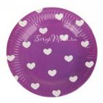 Бумажные тарелочки Сердечки, фиолетовые, 18 см., 6 шт.,  ламинированный картон, RP000081