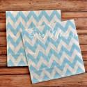 Салфетки бумажные Chevron, голубые на белом фоне, размер 33х33 см., цена за 20 шт., RP000087