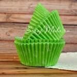 Бумажные гофрированные формы для выпечки салатовые, с рисунком кексом, 12 шт., PR000094