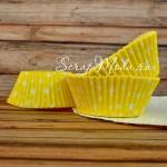 Бумажные гофрированные формы для выпечки белые звездочки на желтом фоне, 12 шт., PR000095