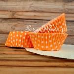 Бумажные гофрированные формы для выпечки, Polka Dots на оранжевом фоне, 12 шт., PR000096