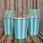 Бумажный стаканчик голубые, белая полоска, 225мл., цена за 1 шт. RP000098