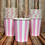 Бумажный стаканчик розовые, белая полоска, 225мл., цена за 1 шт. RP000100