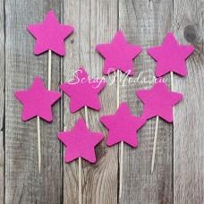 Шпажки Star малиновые, звездочка 4 см., 8 шт., RP000112