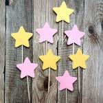 Шпажки Star mix, розовые и  gold, звездочка 4 см., 8 шт., RP000116