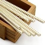 Бумажные трубочки Gold шеврон, размер 19,5х0,55 см., 6 шт., RP000118
