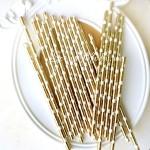 Бумажные трубочки Gold в горох, размер 19,5х0,55 см., 6 шт., RP000119