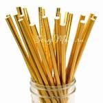 Бумажные трубочки Gold зеркальный, размер 19,5х0,55 см., 6 шт., RP000121