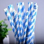 Бумажные трубочки полоска, цвет ярко-синий с белым, 6 шт., RP000127
