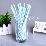 Бумажные трубочки полоска, цвет голубой с белым, 6 шт., RP000128