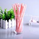 Бумажные трубочки Polka Dot, мелкий белый горох на розовым фоне, 6 шт., RP000130