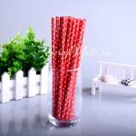 Бумажные трубочки Polka Dot, мелкий белый горох на красном фоне, 6 шт., RP000131