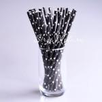 Бумажные трубочки Star, белые звездочки на черном фоне, 6 шт., RP000134