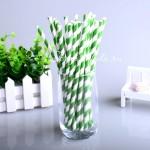 Бумажные трубочки полоска, цвет зелёный с белым, 6 шт., RP000140