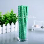 Бумажные трубочки Polka Dot, мелкий белый горох на зеленом фоне, размер 19,5х0,55 см., 6 шт., RP000141