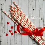 Бумажные трубочки Сердечки красные на белом фоне, размер 19,5х0,55 см., 6 шт. RPL00006