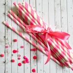Бумажные трубочки Stripesl, цвет ярко-розовые, размер 19,5х0,55 см., 6 шт., RPL00013