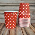 Бумажные стаканчики Polka Dots, красные, 205мл., 6 шт., RPL00015