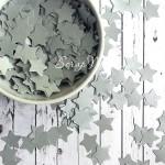 Конфети Серебренные звездочки, двусторонние, размер 15 мм., 30 шт. RU000057