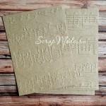 Тиснение - Ноты, Крафт бумага, размер 105х140 мм, плотность 200 гр., цена за 1 шт., RU000061